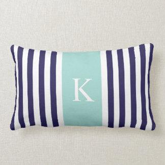 Navy Mint Green Stripes Monogram Lumbar Pillow