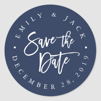 Navy | Modern Brush Lettered Save the Date Classic Round Sticker