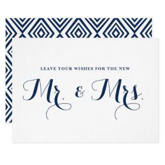 Navy Modern Calligraphy Wishes for Mr. & Mrs. Sign Card