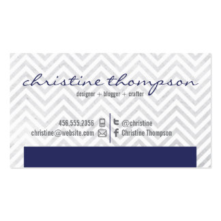 Navy Modern Chevron Professional Business Card