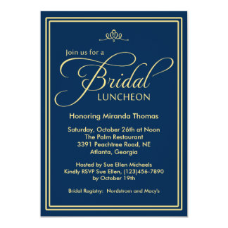 Navy Modern Classic Bridal Luncheon Card