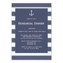 Navy modern nautical rehearsal dinner invitations