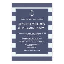 Navy modern nautical wedding invitations