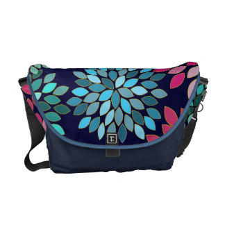 Navy Modern Star Burst Flower Commuter Bag Messenger Bags