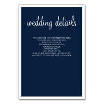Navy Modern Wedding Details Enclosure Cards