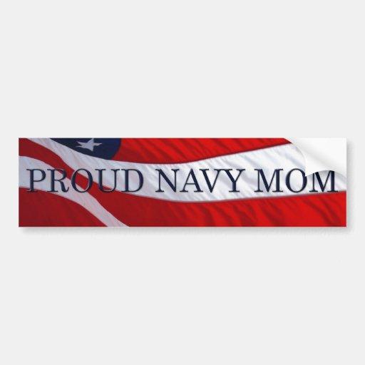 Navy Mom American Flag Bumper Sticker