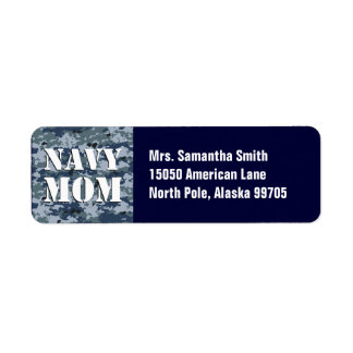 Navy Mom Blue Camouflage Label