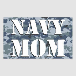 Navy Mom Camouflage Rectangle Rectangular Sticker