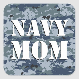 Navy Mom Camouflage Square Square Sticker