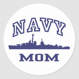 Navy Mom Classic Round Sticker