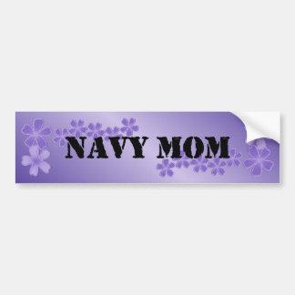 Navy Mom Deep Lilac Bumper Sticker