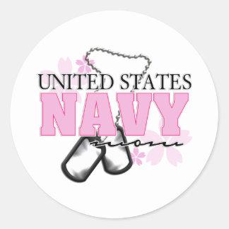 Navy Mom flowers Classic Round Sticker