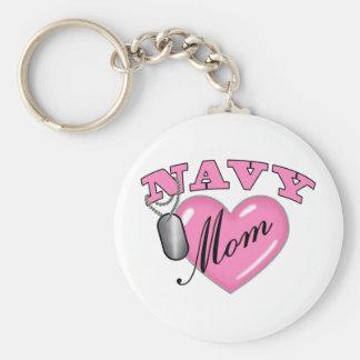 Navy Mom Heart N Dog Tag Keychain