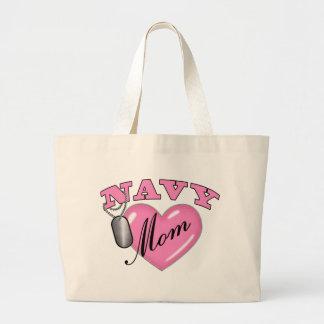 Navy Mom Heart N Dog Tag Large Tote Bag