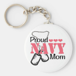Navy Mom Hearts Keychain