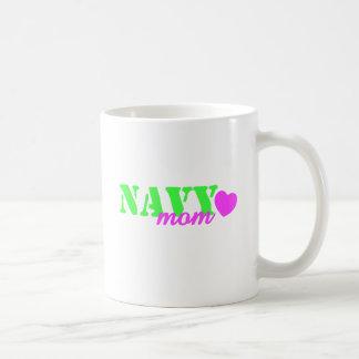 Navy Mom Lime Green Coffee Mug