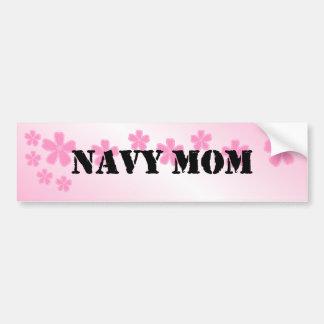 Navy Mom Pale Pink Hibiscus Bumper Sticker