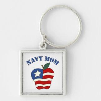 Navy Mom Patriotic Apple Keychain