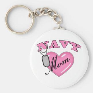 Navy Mom Pink Heart N Dog Tags Keychain