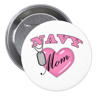 Navy Mom Pink Heart N Dog Tags Pinback Button