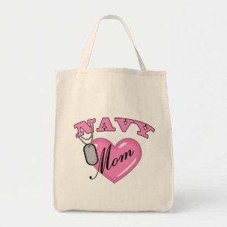 Navy Mom Pink Heart N Dog Tags Tote Bag