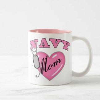 Navy Mom Pink Heart N Dog Tags Two-Tone Coffee Mug