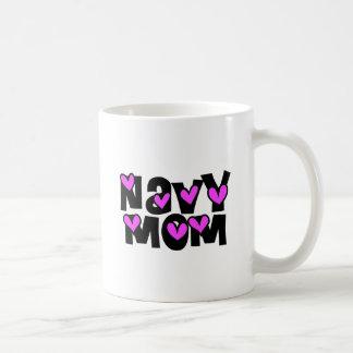 Navy Mom Pink Hearts Coffee Mug