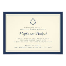 Navy Monogram Anchor Rehearsal Dinner Invitation