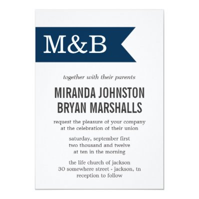 Navy Monogram Banner Wedding Invitations