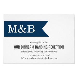 Navy Monogram Banner Wedding Reception Cards