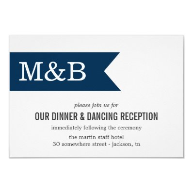Navy Monogram Banner Wedding Reception Cards