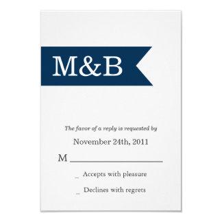 Navy Monogram Banner Wedding RSVP Cards Invites