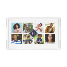 Navy Monogram Instagram Photo Collage Acrylic Tray