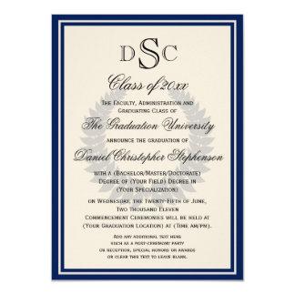 Navy Monogram Laurel Classic College Graduation 4.5x6.25 Paper Invitation Card