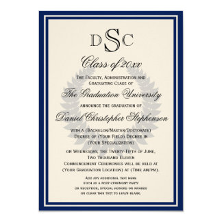 Navy Monogram Laurel Classic College Graduation Card