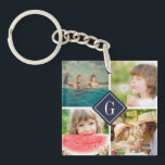"Navy Monogram Photo Collage Keychain<br><div class=""desc"">Custom compact mirror with personalized monogram and square collage of 4 photos bordering your monogram or other custom text in a diamond frame. Click Customize It to change text, fonts and colors to create a unique design. A perfect gift for family, friends, newlywed couples, parents, and grandparents! This template works...</div>"