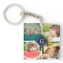Navy Monogram Photo Collage Keychain