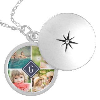 Navy Monogram Photo Collage Round Locket Necklace