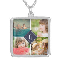 Navy Monogram Photo Collage Silver Plated Necklace