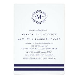 Navy Monogram Wedding Invitation