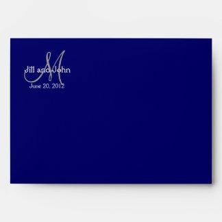 Navy Monogram Wedding Invitation Envelope