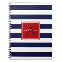 Navy Monogrammed Awning Stripe Notebook