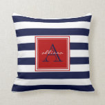 "Navy Monogrammed Awning Stripe Throw Pillow<br><div class=""desc"">Navy Monogrammed Awning Stripe</div>"