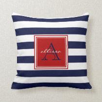 Navy Monogrammed Awning Stripe Throw Pillow