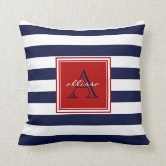 Navy Monogrammed Awning Stripe Throw Pillow