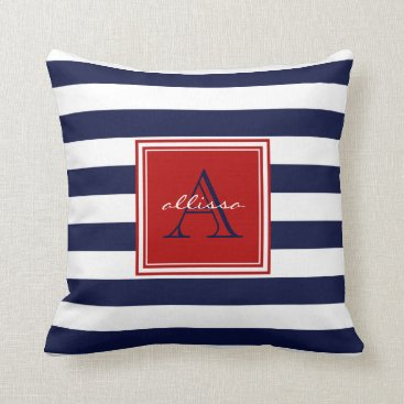 Beach Themed Navy Monogrammed Awning Stripe Throw Pillow