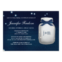 Navy Monogrammed Firefly Mason Jar Bridal Shower Card