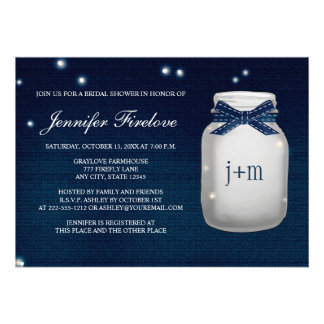 Navy Monogrammed Firefly Mason Jar Bridal Shower Invitation