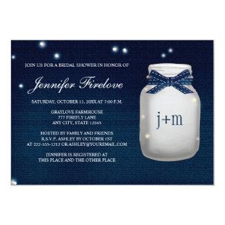 Navy Monogrammed Firefly Mason Jar Bridal Shower 5x7 Paper Invitation Card
