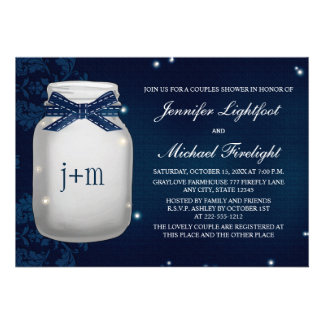 Navy Monogrammed Firefly Mason Jar Couples Shower Cards